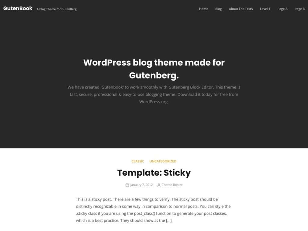GutenBook WordPress blog theme - Screenshot